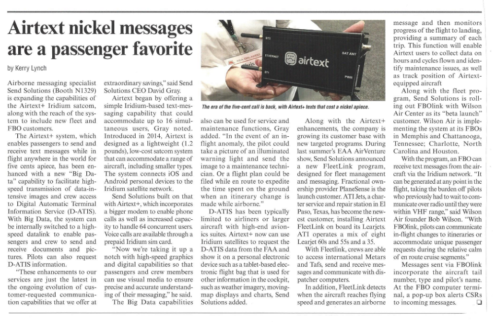 newspaper article with headline and lots of copy, says: Airtext nickel messages are a passenger favorite (headline)